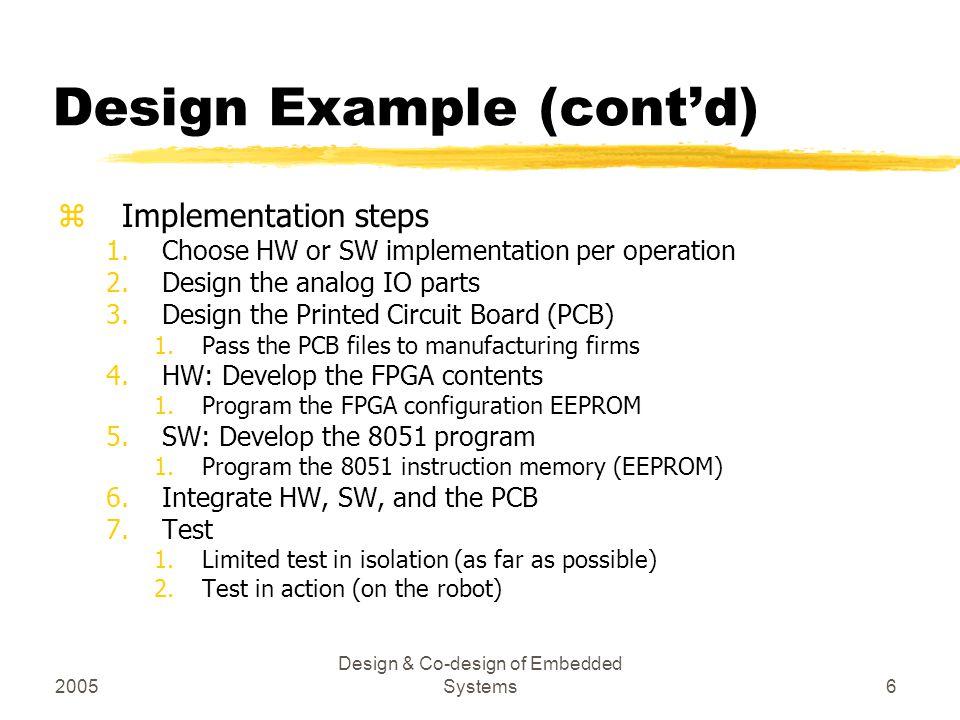 2005 Design & Co-design of Embedded Systems7 Design Example (cont'd) FabricationTest System design PCB test SW test Time Tasks Traditional System Design Process Simulation PCB design SW design FPGA design