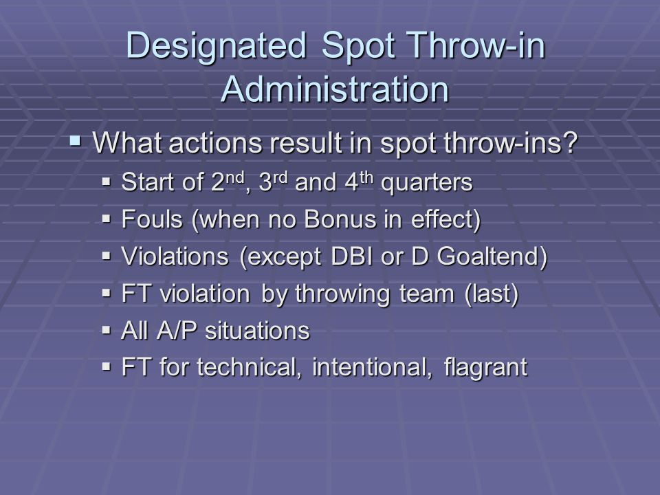 Designated Spot Throw-in Administration  What actions result in spot throw-ins.