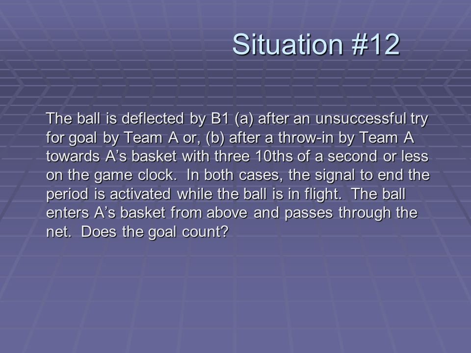 Situation #12 The ball is deflected by B1 (a) after an unsuccessful try for goal by Team A or, (b) after a throw-in by Team A towards A's basket with three 10ths of a second or less on the game clock.