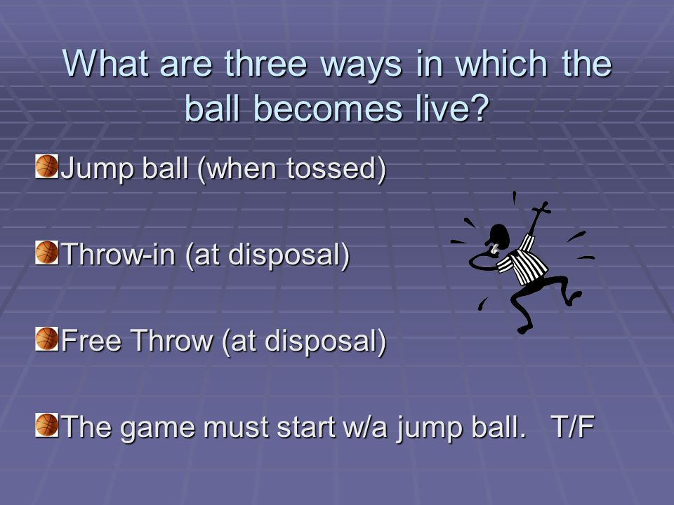 What are three ways in which the ball becomes live.