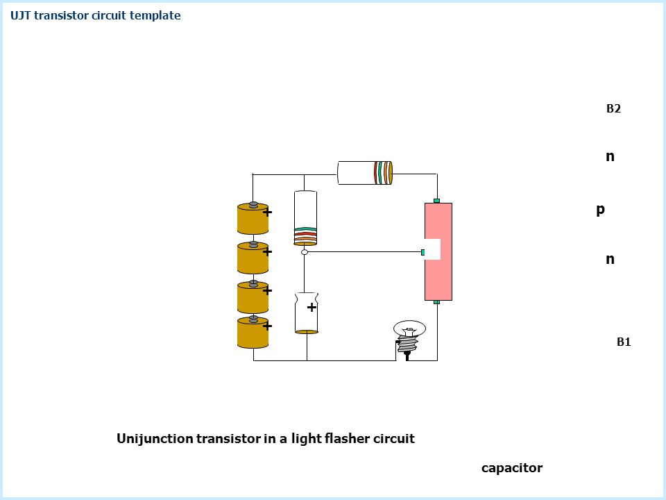B2 Unijunction transistor in a light flasher circuit B1 capacitor + + + + + p n n