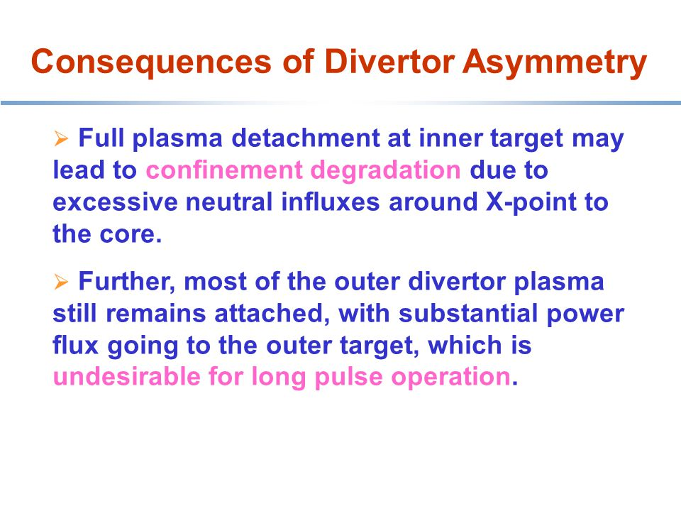 Consequences of Divertor Asymmetry HT-7 belt limiter  Full plasma detachment at inner target may lead to confinement degradation due to excessive neutral influxes around X-point to the core.