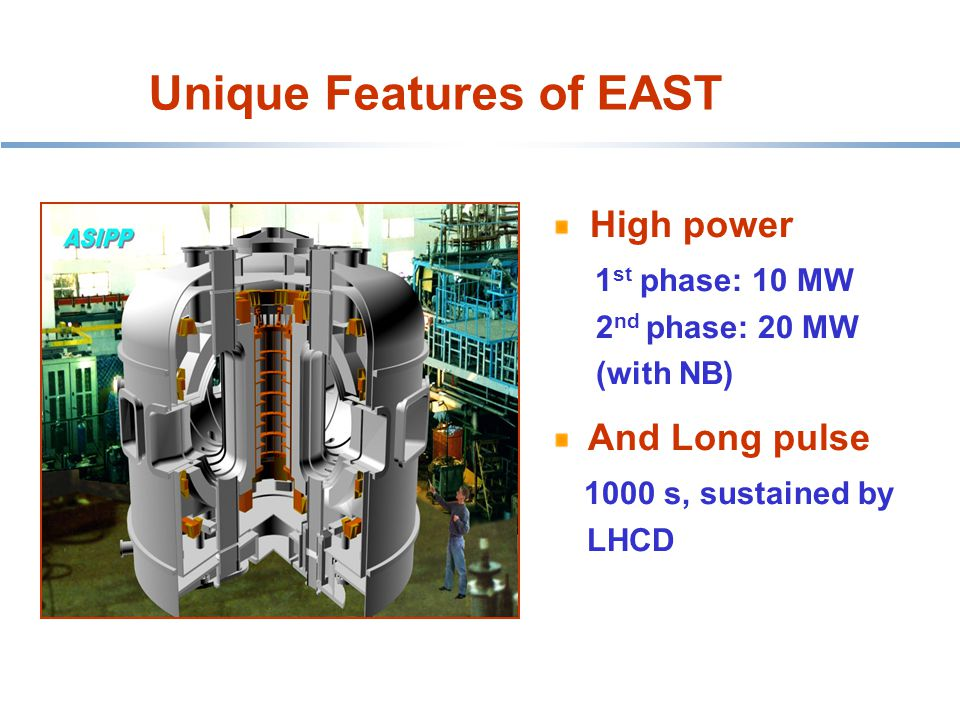Unique Features of EAST HT-7 belt limiter High power 1 st phase: 10 MW 2 nd phase: 20 MW (with NB) And Long pulse 1000 s, sustained by LHCD
