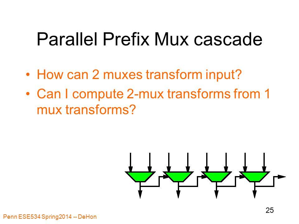 Penn ESE534 Spring2014 -- DeHon 25 Parallel Prefix Mux cascade How can 2 muxes transform input.