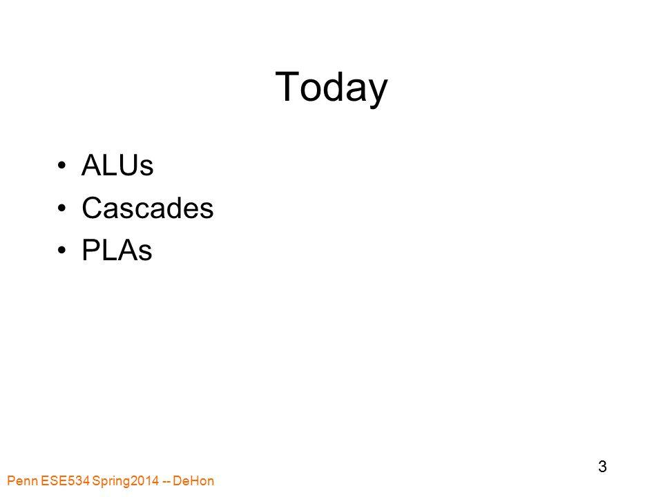 Penn ESE534 Spring2014 -- DeHon 3 Today ALUs Cascades PLAs