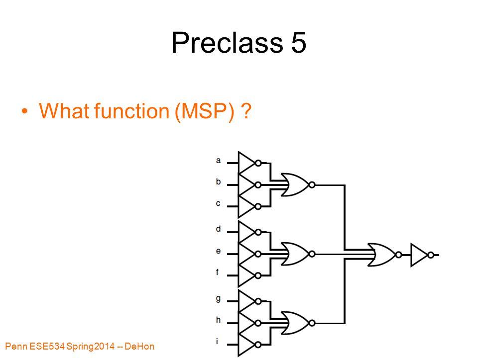 Preclass 5 Penn ESE534 Spring2014 -- DeHon 42 What function (MSP) ?