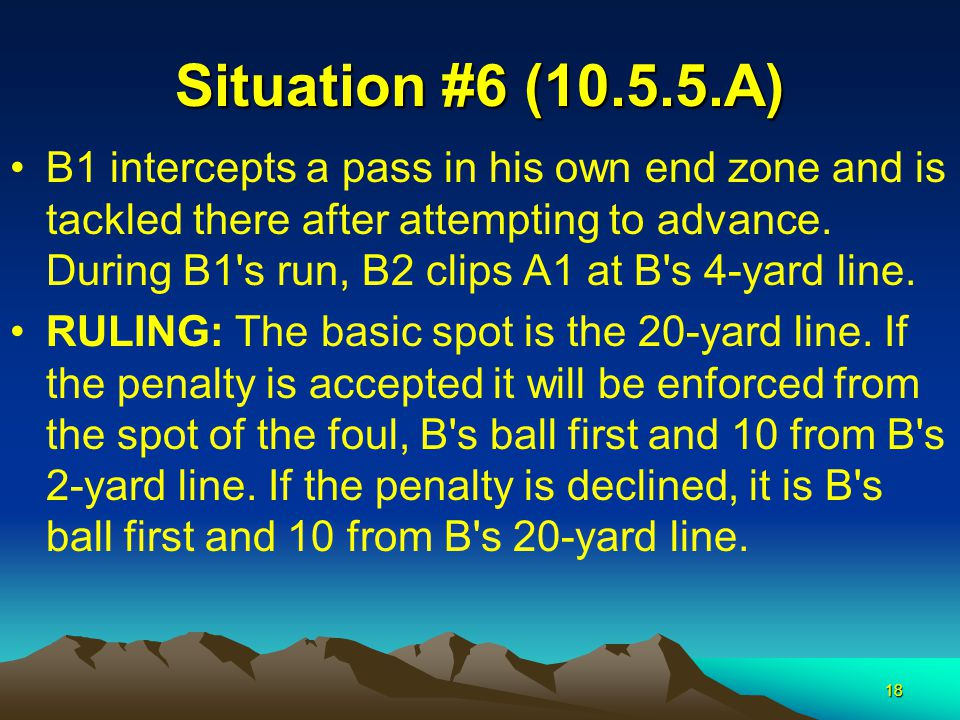 18 Situation #6 (10.5.5.A) B1 intercepts a pass in his own end zone and is tackled there after attempting to advance. During B1's run, B2 clips A1 at