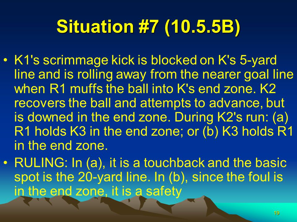 19 Situation #7 (10.5.5B) K1's scrimmage kick is blocked on K's 5-yard line and is rolling away from the nearer goal line when R1 muffs the ball into
