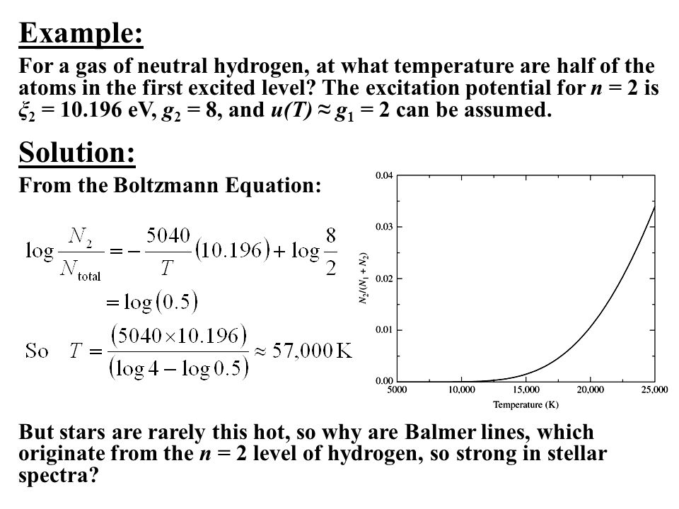 Example: For a gas of neutral hydrogen, at what temperature are half of the atoms in the first excited level.