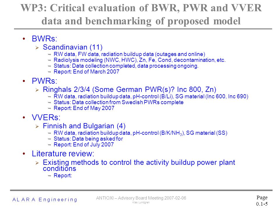 ANTIOXI – Advisory Board Meeting 2007-02-06 Klas Lundgren Page 0.1-5 WP3: Critical evaluation of BWR, PWR and VVER data and benchmarking of proposed model BWRs:  Scandinavian (11)  RW data, FW data, radiation buildup data (outages and online)  Radiolysis modeling (NWC, HWC), Zn, Fe, Cond, decontamination, etc.