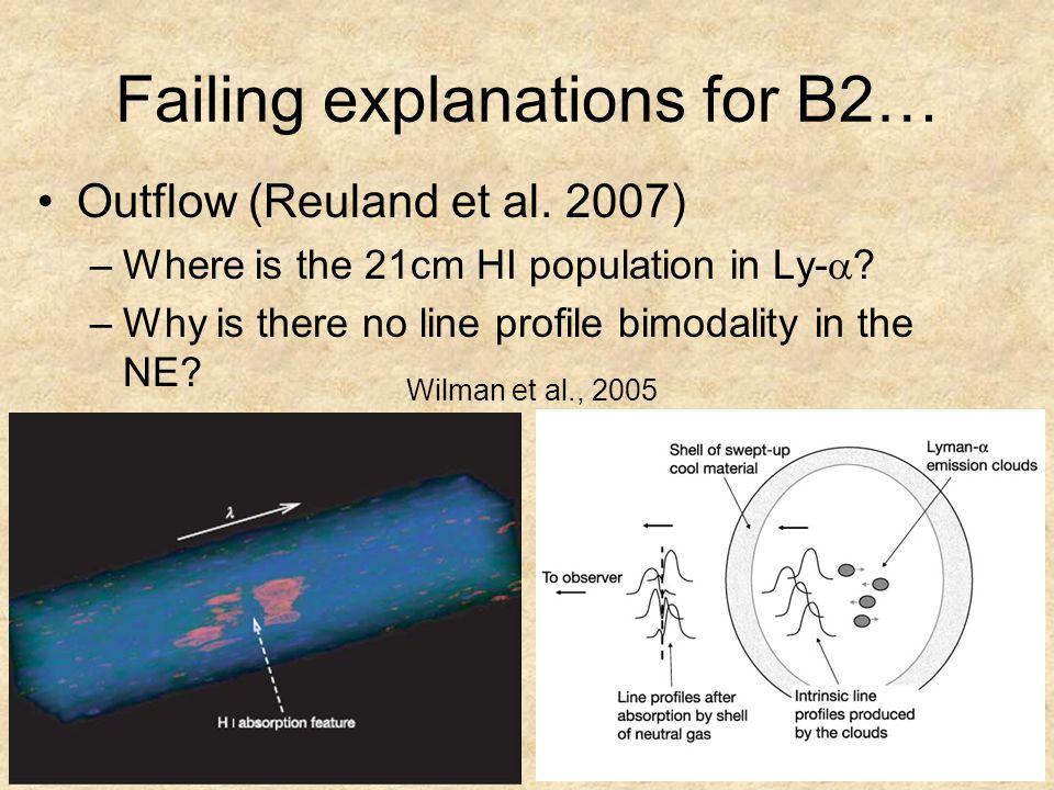 Failing explanations for B2… Outflow (Reuland et al.