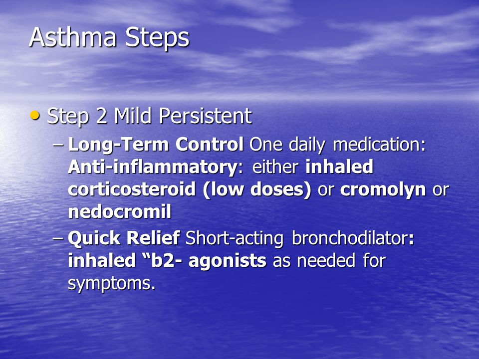 Asthma Steps Step 2 Mild Persistent Step 2 Mild Persistent –Long-Term Control One daily medication: Anti-inflammatory: either inhaled corticosteroid (low doses) or cromolyn or nedocromil –Quick Relief Short-acting bronchodilator: inhaled b2- agonists as needed for symptoms.