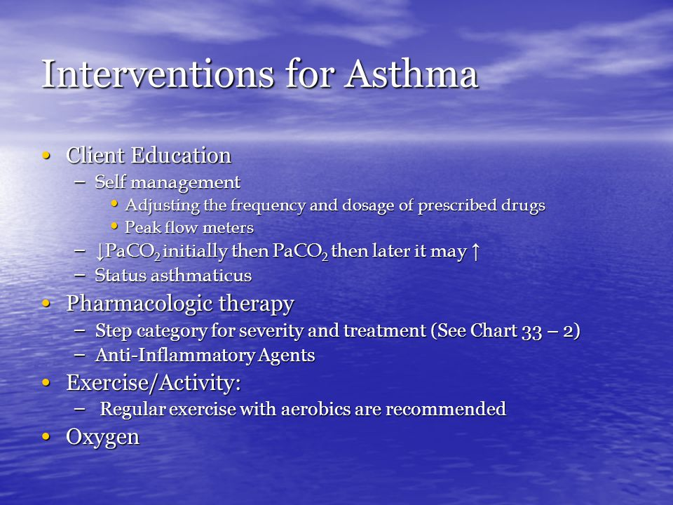 Interventions for Asthma Client Education Client Education – Self management Adjusting the frequency and dosage of prescribed drugs Adjusting the freq