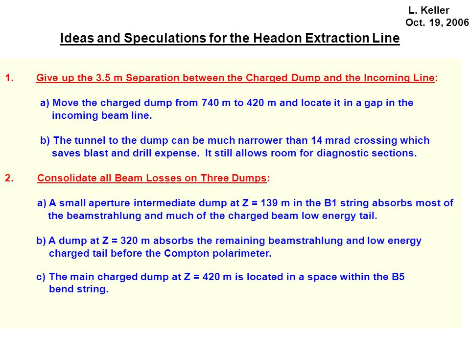 Ideas and Speculations for the Headon Extraction Line L.