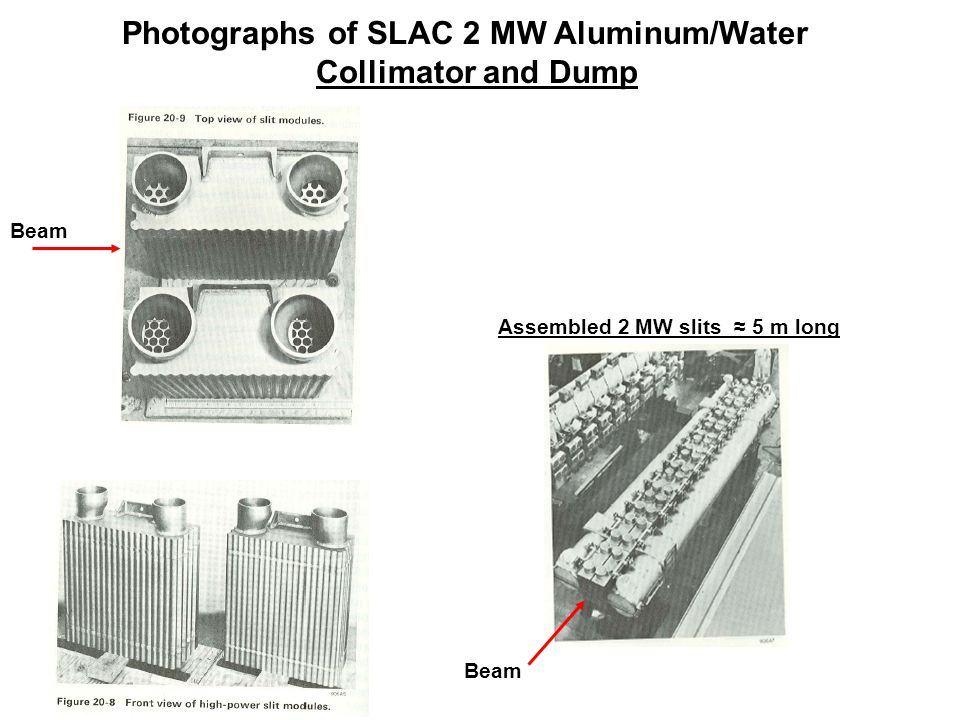 Beam Assembled 2 MW slits ≈ 5 m long Beam Photographs of SLAC 2 MW Aluminum/Water Collimator and Dump