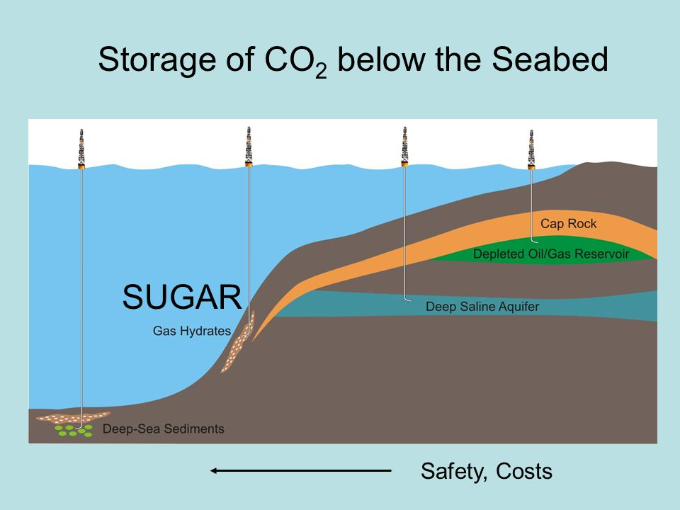 Safety, Costs Storage of CO 2 below the Seabed SUGAR