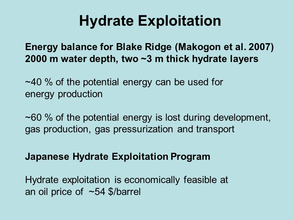 Hydrate Exploitation Energy balance for Blake Ridge (Makogon et al.