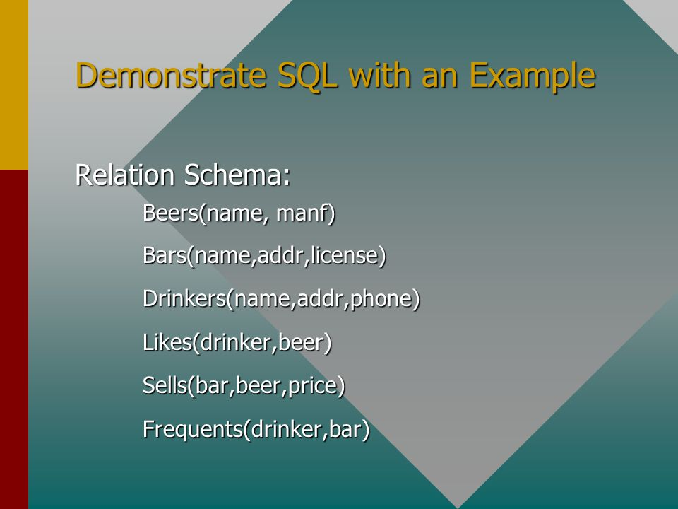 Demonstrate SQL with an Example Relation Schema: Beers(name, manf) Bars(name,addr,license)Drinkers(name,addr,phone)Likes(drinker,beer)Sells(bar,beer,price)Frequents(drinker,bar)