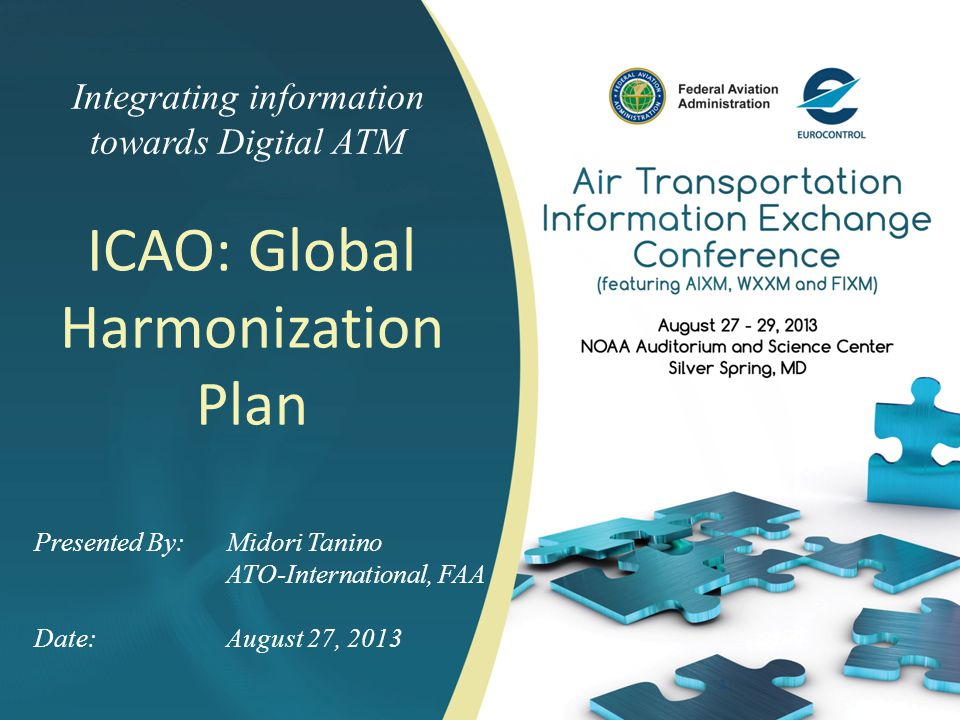 Integrating information towards Digital ATM 1 Presented By: Midori Tanino ATO-International, FAA Date:August 27, 2013 ICAO: Global Harmonization Plan