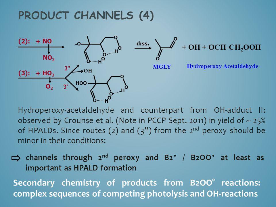 O H O O H O O O (2): + NO diss. NO 2 O O + OH + OCH-CH 2 OOH (3): + HO 2 O H O O H O O HOO Hydroperoxy-acetaldehyde and counterpart from OH-adduct II: