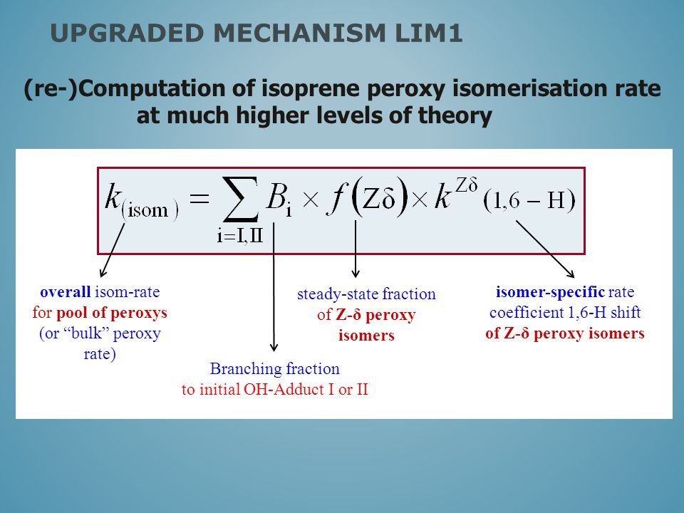 steady-state fraction of Z-δ peroxy isomers isomer-specific rate coefficient 1,6-H shift of Z-δ peroxy isomers overall isom-rate for pool of peroxys (or bulk peroxy rate) (re-)Computation of isoprene peroxy isomerisation rate at much higher levels of theory UPGRADED MECHANISM LIM1 Branching fraction to initial OH-Adduct I or II