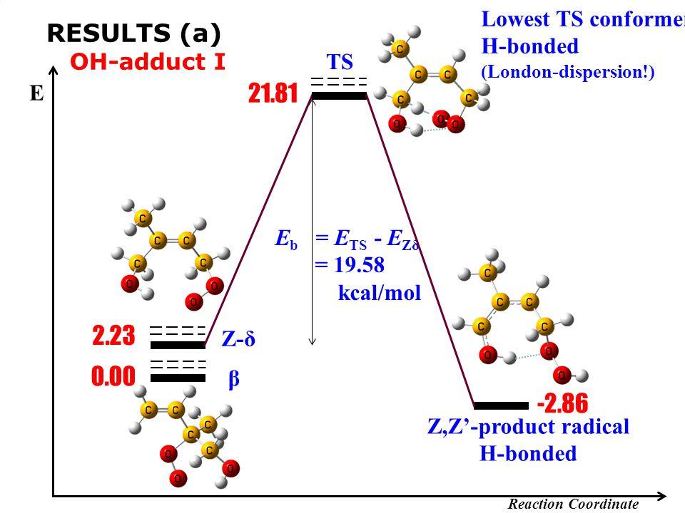 -2.86 E Reaction Coordinate E b = E TS - E Zδ = 19.58 kcal/mol 21.81 Z,Z'-product radical H-bonded Z-δ β 0.00 2.23 RESULTS (a) OH-adduct I Lowest TS c