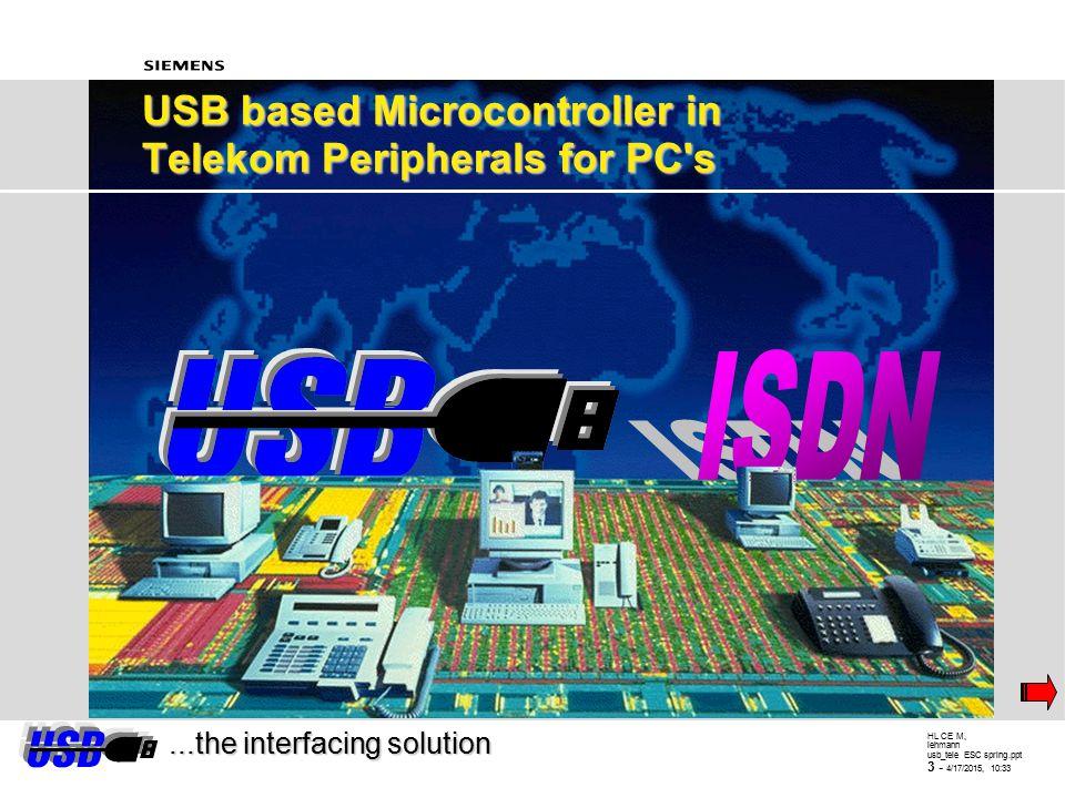 HL CE M, lehmann usb_tele ESC spring.ppt 2 - 4/17/2015, 10:34 Agenda   USB basics - - Why USB - - Bus structure - - Enumeration, speed - - Layer mod