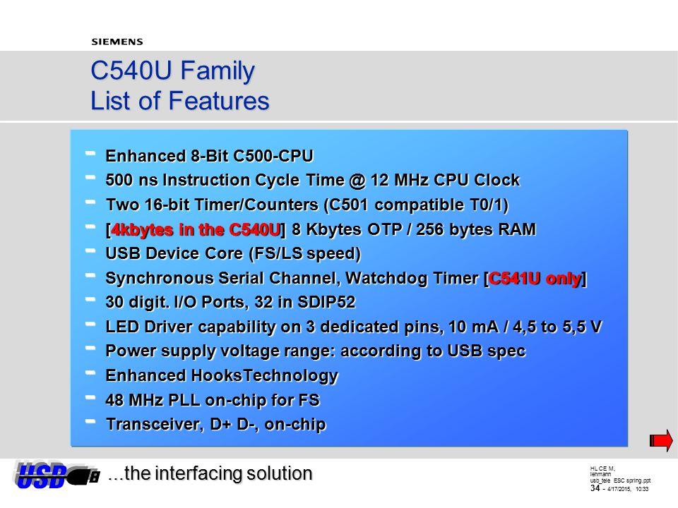 HL CE M, lehmann usb_tele ESC spring.ppt 33 - 4/17/2015, 10:34 C540U / C541U Block Diagram...the interfacing solution Oscillator Watchdog SSC (SPI) Interface (C541U only) Timer 0 Timer 1 Interrupt Unit Transceiver USBPLL Module OSC & Timing C500 Prog.