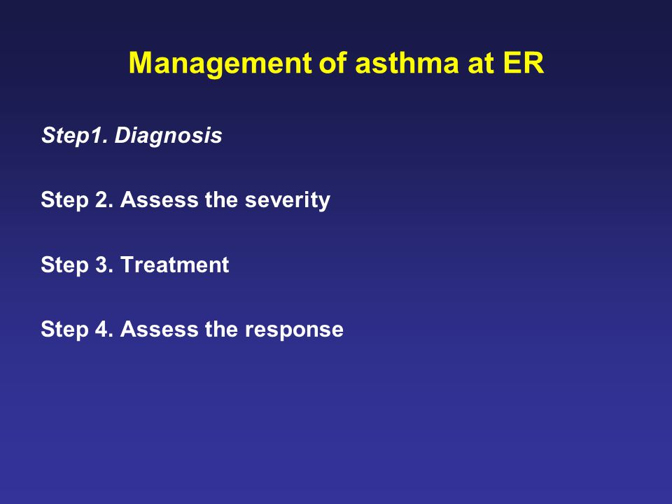 Management of asthma at ER Step1.Diagnosis Step 2.