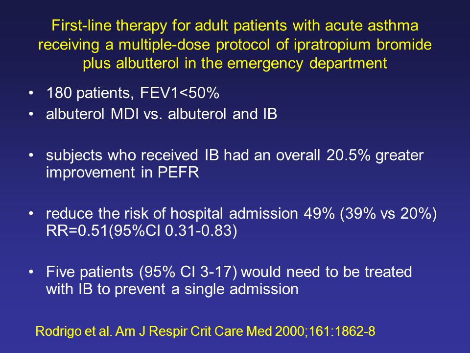 First-line therapy for adult patients with acute asthma receiving a multiple-dose protocol of ipratropium bromide plus albutterol in the emergency department 180 patients, FEV1<50% albuterol MDI vs.