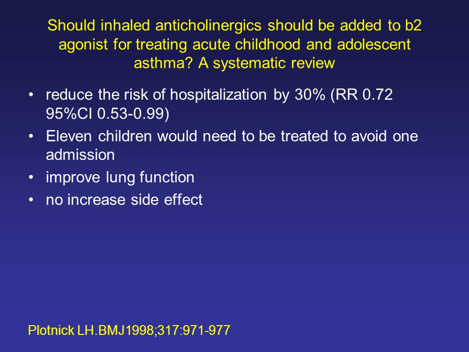 Should inhaled anticholinergics should be added to b2 agonist for treating acute childhood and adolescent asthma.
