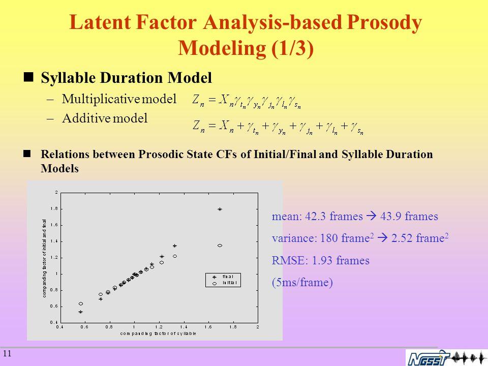 11 Syllable Duration Model –Multiplicative model –Additive model Relations between Prosodic State CFs of Initial/Final and Syllable Duration Models mean: 42.3 frames  43.9 frames variance: 180 frame 2  2.52 frame 2 RMSE: 1.93 frames (5ms/frame) Latent Factor Analysis-based Prosody Modeling (1/3)