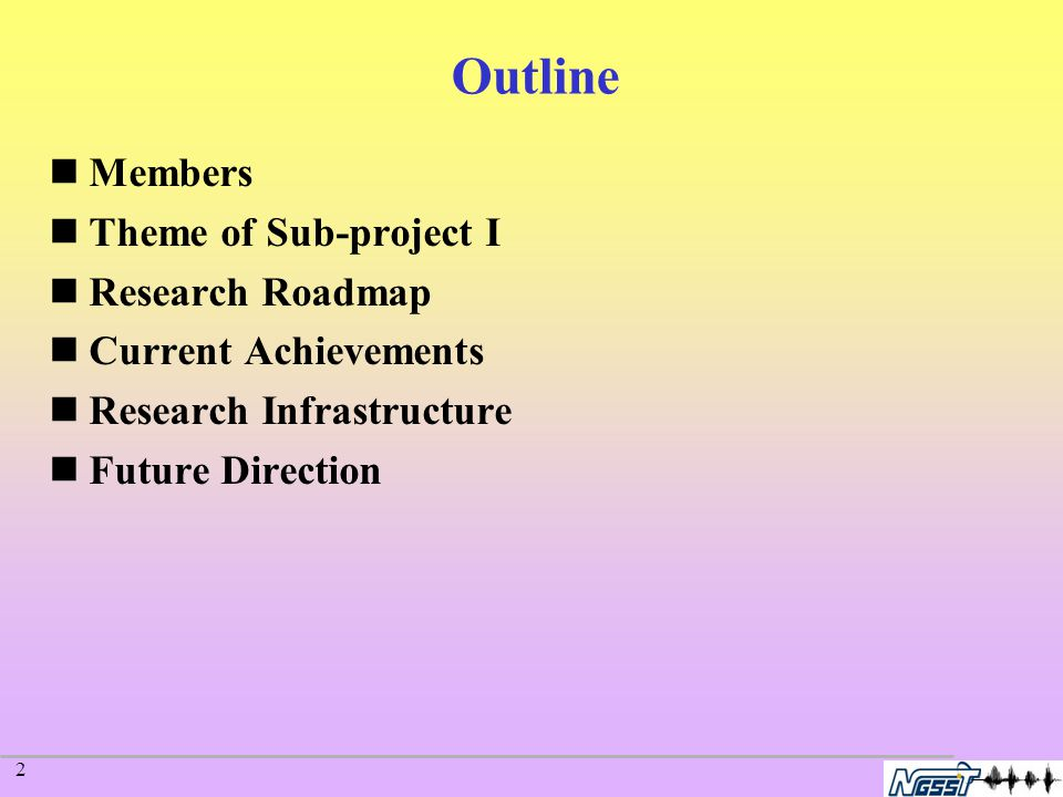 2 Outline Members Theme of Sub-project I Research Roadmap Current Achievements Research Infrastructure Future Direction