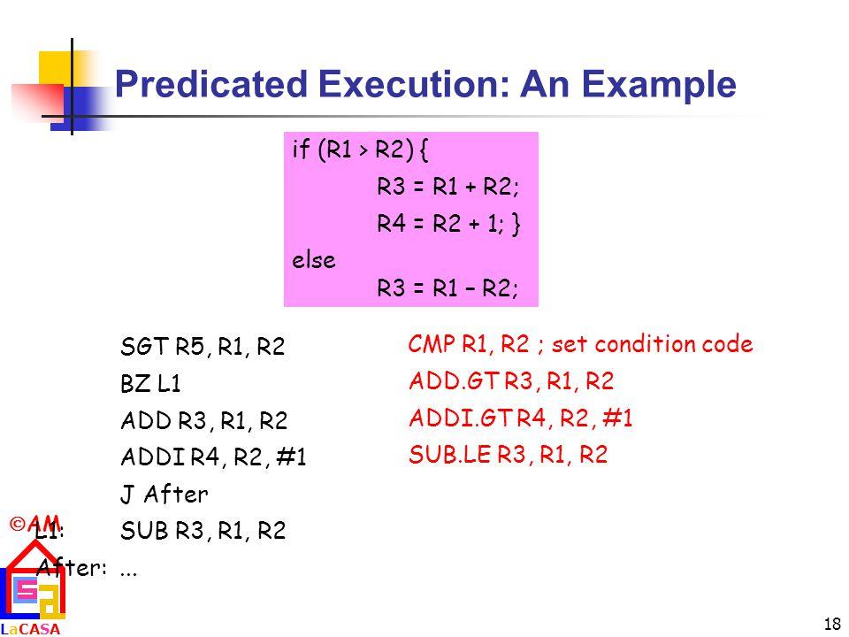  AM LaCASALaCASA 18 Predicated Execution: An Example if (R1 > R2) { R3 = R1 + R2; R4 = R2 + 1; } else R3 = R1 – R2; SGT R5, R1, R2 BZ L1 ADD R3, R1, R2 ADDI R4, R2, #1 J After L1:SUB R3, R1, R2 After:...