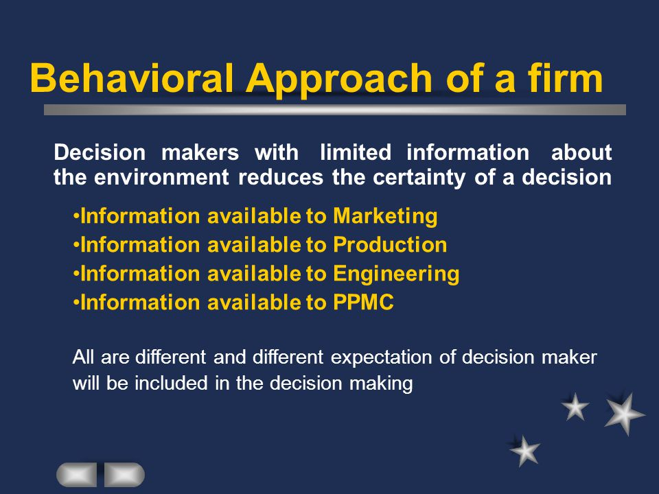 Behavioral Approach of a firm Decision makers with limited information about the environment reduces the certainty of a decision Information available to Marketing Information available to Production Information available to Engineering Information available to PPMC All are different and different expectation of decision maker will be included in the decision making