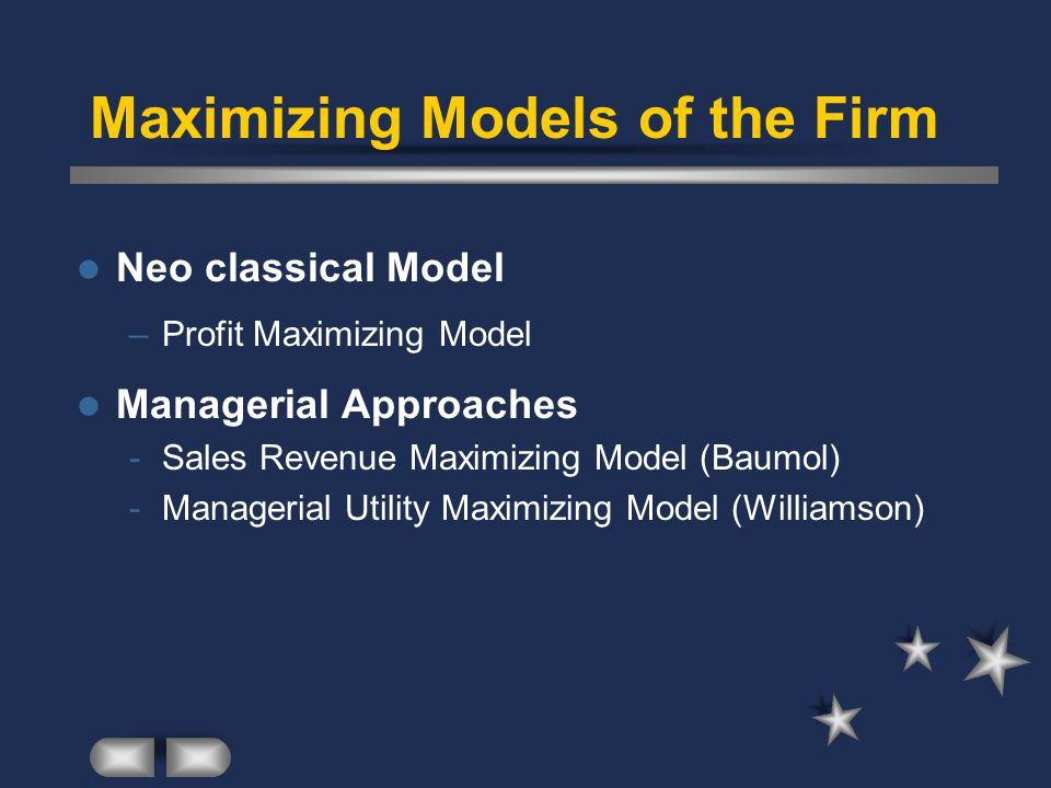 Maximizing Models of the Firm Neo classical Model –Profit Maximizing Model Managerial Approaches -Sales Revenue Maximizing Model (Baumol) -Managerial Utility Maximizing Model (Williamson)