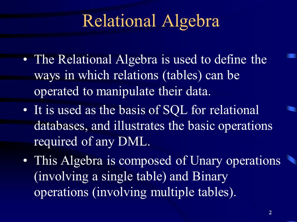 23 Intersection Takes the set of rows that are common to each relation Participating relations must be compatible RSR  S AB a1b1 a2b2 AB a2b2 a3b3 AB a2b2