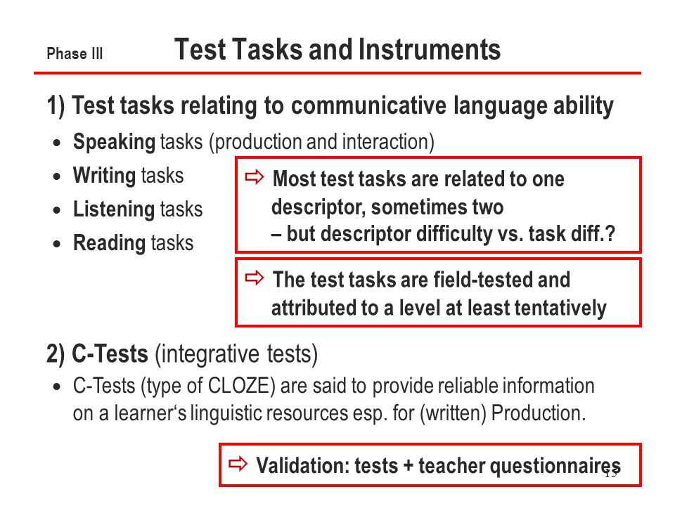 15 Phase III Test Tasks and Instruments  Speaking tasks (production and interaction)  Writing tasks  Listening tasks  Reading tasks 1) Test tasks relating to communicative language ability 2) C-Tests (integrative tests)  C-Tests (type of CLOZE) are said to provide reliable information on a learner's linguistic resources esp.