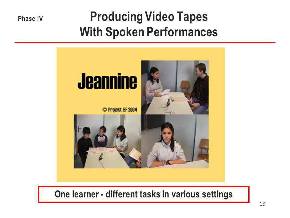18 Phase IV Producing Video Tapes With Spoken Performances One learner - different tasks in various settings