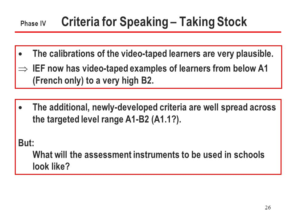 26 Phase IV Criteria for Speaking – Taking Stock  The calibrations of the video-taped learners are very plausible.