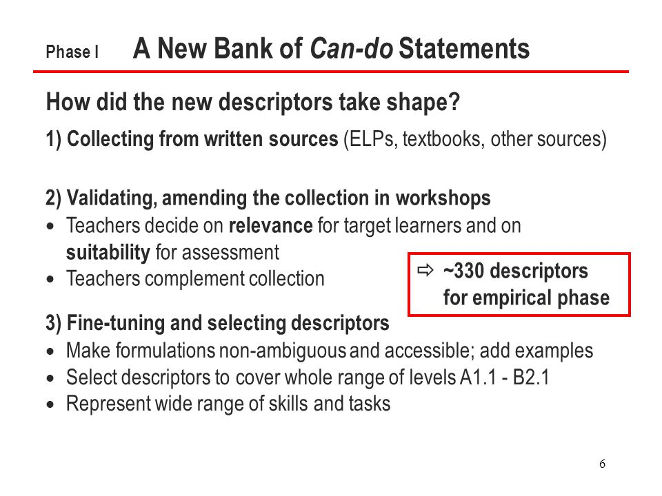 6 Phase I A New Bank of Can-do Statements How did the new descriptors take shape.