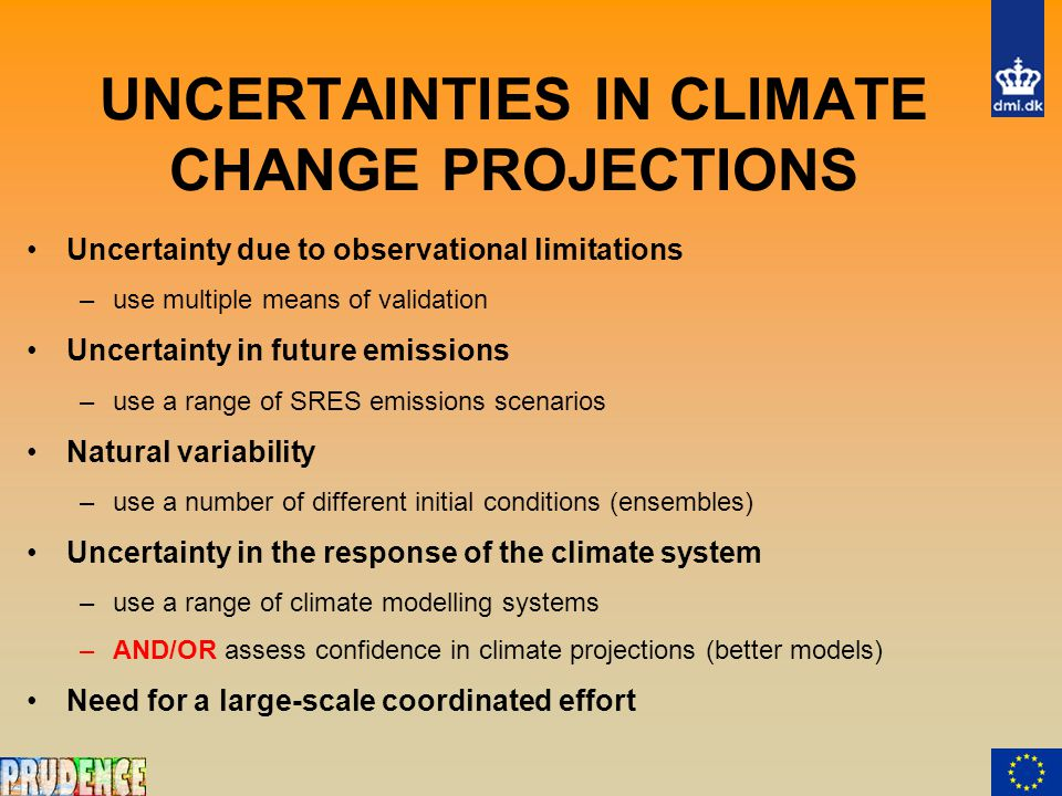 UNCERTAINTIES IN CLIMATE CHANGE PROJECTIONS Uncertainty due to observational limitations –use multiple means of validation Uncertainty in future emissions –use a range of SRES emissions scenarios Natural variability –use a number of different initial conditions (ensembles) Uncertainty in the response of the climate system –use a range of climate modelling systems –AND/OR assess confidence in climate projections (better models) Need for a large-scale coordinated effort