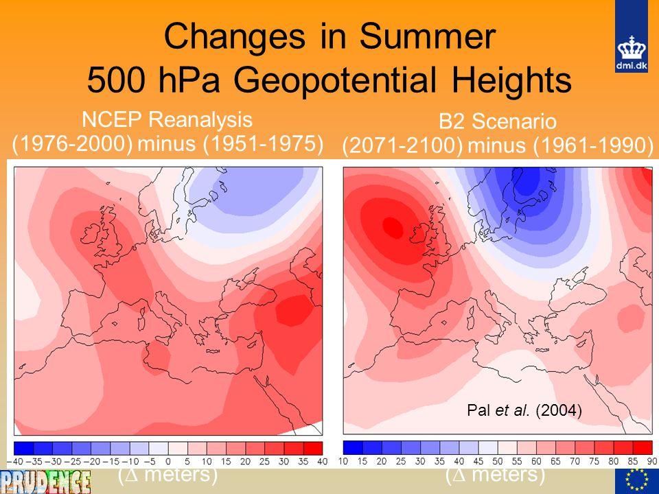 Changes in Summer 500 hPa Geopotential Heights (  meters) B2 Scenario (2071-2100) minus (1961-1990) NCEP Reanalysis (1976-2000) minus (1951-1975) Pal et al.