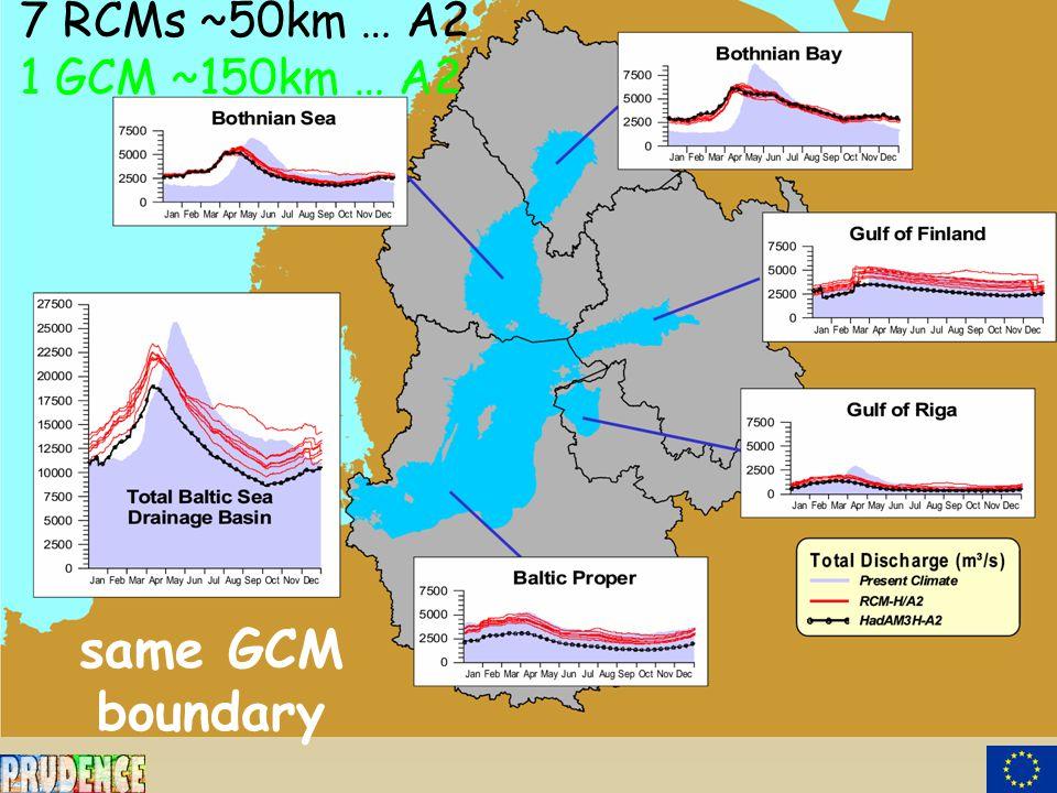 7 RCMs ~50km … A2 1 GCM ~150km … A2 same GCM boundary