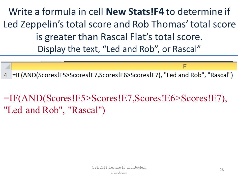 Write a formula in cell New Stats!F4 to determine if Led Zeppelin's total score and Rob Thomas' total score is greater than Rascal Flat's total score.