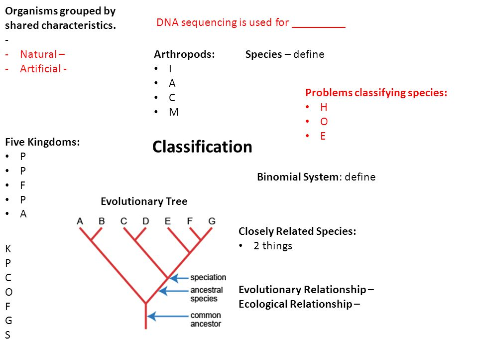 Organisms grouped by shared characteristics. - -Natural – -Artificial - Classification Five Kingdoms: P F P A KPCOFGSKPCOFGS DNA sequencing is used fo