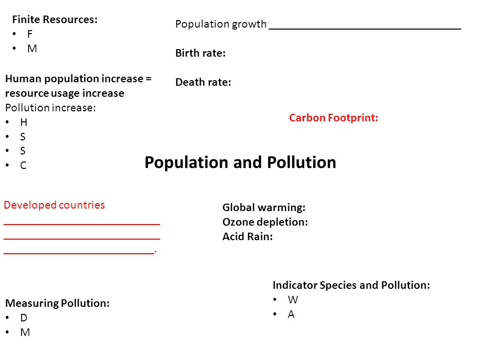 Population and Pollution Finite Resources: F M Human population increase = resource usage increase Pollution increase: H S C Population growth ________________________________ Birth rate: Death rate: Developed countries __________________________ __________________________ _________________________.