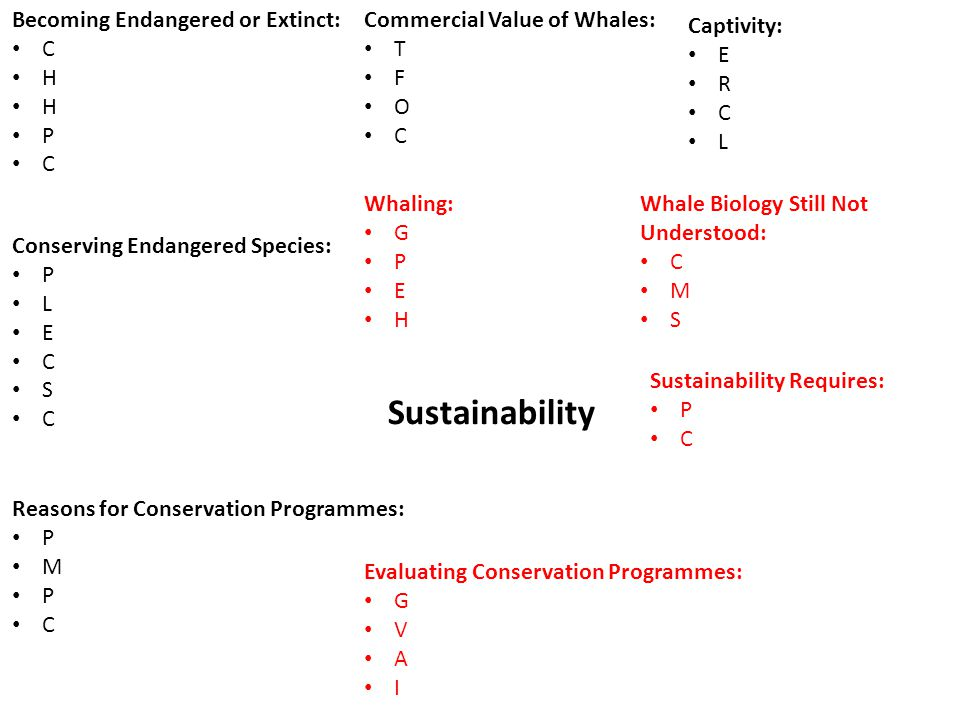 Sustainability Becoming Endangered or Extinct: C H P C Conserving Endangered Species: P L E C S C Reasons for Conservation Programmes: P M P C Evaluating Conservation Programmes: G V A I Commercial Value of Whales: T F O C Captivity: E R C L Whaling: G P E H Whale Biology Still Not Understood: C M S Sustainability Requires: P C