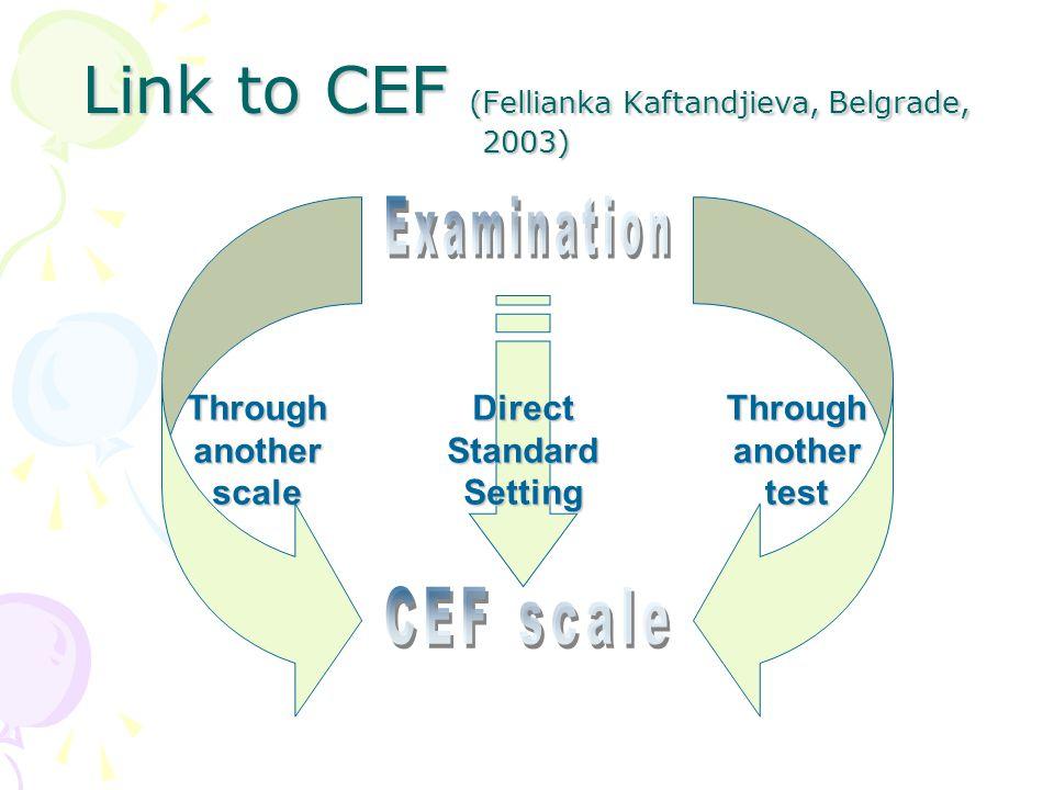 Link to CEF (Fellianka Kaftandjieva, Belgrade, 2003) ThroughanotherscaleThroughanothertestDirectStandardSetting