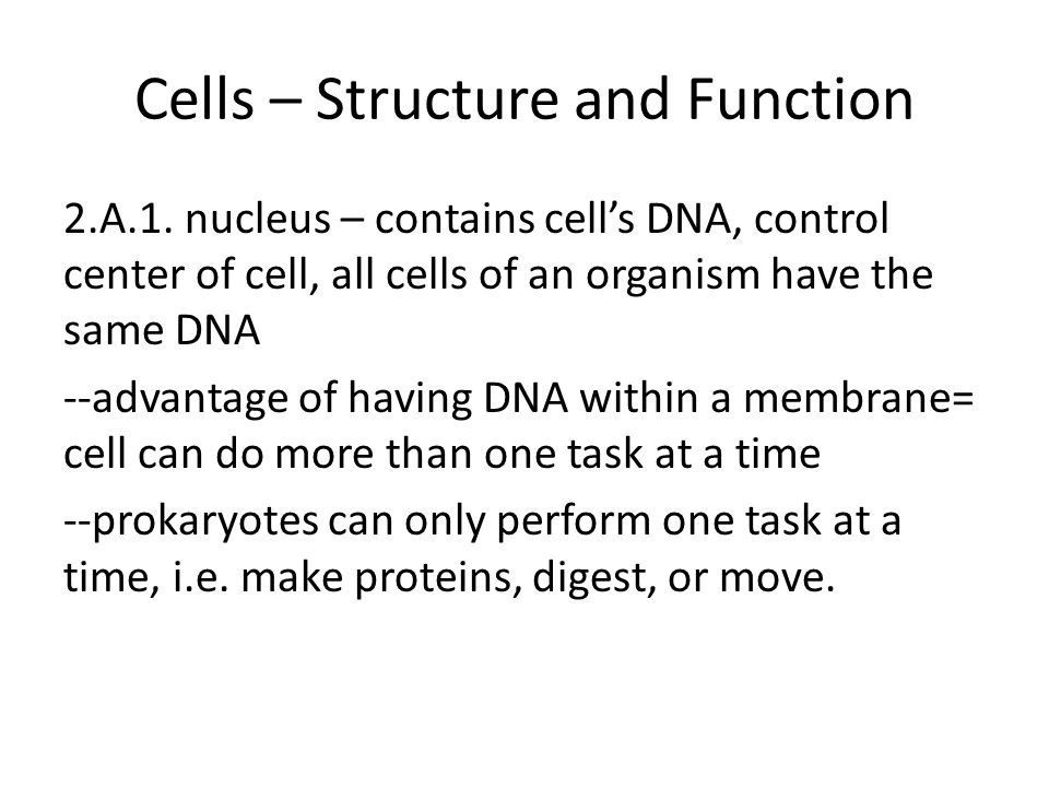 Cells – Structure and Function 2.A.1.